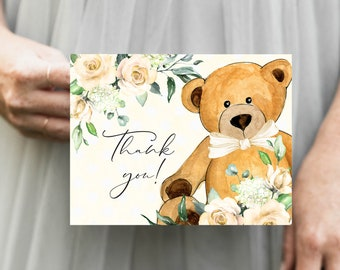 Gender Neutral Yellow Bear Floral Baby Shower Thank You Notes