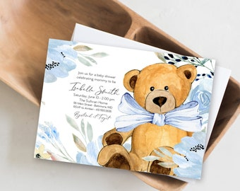 Blue Floral Teddy Bear Baby Shower Invitation - It's a Boy, Watercolor Modern Baby Shower Blue Little Cub Printable - Baby Boy