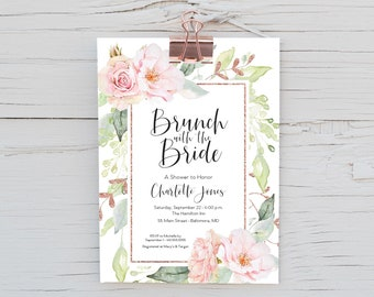Faux Rose Gold Glitter - Brunch with the Bride - Pink Floral Bridal Shower Invitation