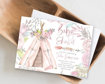 Boho Floral Teepee Baby Shower Invitation, Woodland Invitation, Pink Boho Teepee Invite, It's a girl, Girl Baby Shower