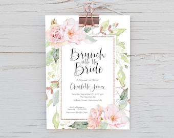 Faux Rose Gold Glitter - Brunch with the Bride - Pink Floral Bridal Shower Invitation