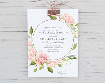 Faux Rose Gold Glitter, Floral Bridal Shower Invitation - Blush Pink Flowers - Baby Shower - Peony Roses Greenery Watercolor Printable