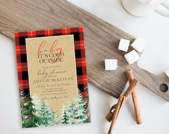 Red Plaid Baby Shower Invitation - Baby It's Cold Outside - Pine Tree Invitation
