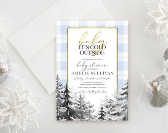 Pine Tree - Blue Plaid Baby Shower Invitation - Baby It's Cold Outside