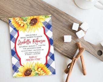 Sunflower Bridal Shower Invitation - Watercolor Sunflowers and Navy Gingham Bridal Shower Invitation Modern Calligraphy Rustic Printable