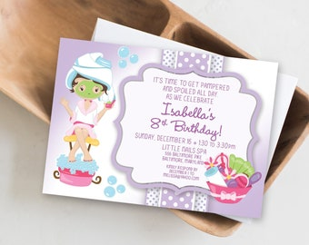 Kid's Spa Birthday Party Invitation Manicure Pedicure Purple Printable
