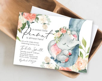 Peach Floral Elephant Baby Shower Invitation - It's a Girl Watercolor Elephant - Little Peanut is Almost Here - Sweet Little Peanut
