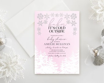 Pink Winter Baby Shower Inviation - Snow Flakes with Pine Trees Invitation - Pink Baby It's Cold Outside - Girl Baby Shower - Baby Shower