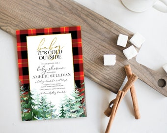 Pine Tree Red Plaid Baby Shower Invitation - Baby It's Cold Outside