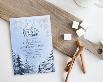 Blue Pine Tree with Snowflakes Baby Shower Invitation - Baby It's Cold Outside