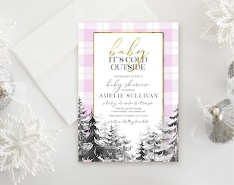 Pine Tree - Pink Plaid Baby Shower Invitation - Baby It's Cold Outside