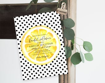 Lemon Bridal Shower Invitation - Lemonade Bridal Shower - Printed Invitations - Sip and See Invitation Watercolor