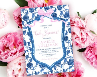 Preppy Blue and White Chinoiserie with Crest and Pink Ribbon Baby Shower Invitation