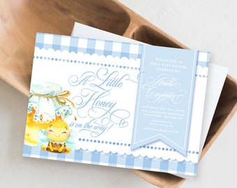 Honey Bee Gingham Baby Shower Invitation - A Little Honey is on the Way Invitation