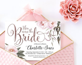 Blush and Rose Gold Bridal Shower Invitation - Floral Watercolor Pink Peony Flowers