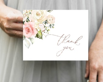INSTANT DOWNLOAD - Printable Pink Floral Thank You Notes