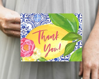 Tuscan Lemon Portuguese Tile and Hot Pink Flowers Thank You Notes