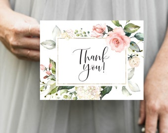 Pink Floral Thank You Notes