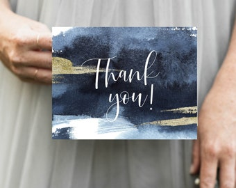 Nautical Blue and White Thank You Notes