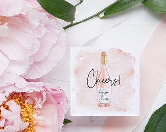 Favor Tags - Bridal Shower Favor - Champagne Bottle Tag - Printable Favor Tag - Square Printable Tag - Wedding Favor - Birthday Favor Tag