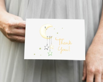 Yellow Moon and Stars Thank You Notes