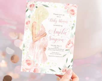 Blonde Mom to Be Pink Floral Baby Shower Invitation