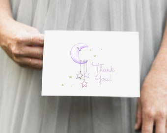 Lilac Purple Moon and Stars Thank You Notes