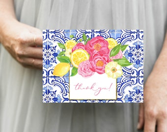 Tuscan Lemon Tile and Hot Pink Flowers Thank You Notes