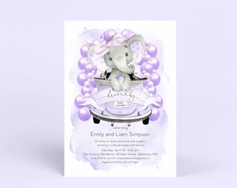 Purple Elephant Drive By Baby Shower Invitation - It's a Girl