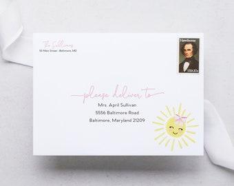 Sunshine Birthday Party - Printed Envelopes - Guest Address Printing - Return Address Printing - Addressed Envelopes - Envelope Addressing