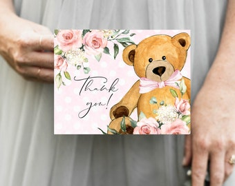 Pink Bear Floral Baby Shower Thank You Notes