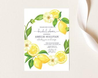 Lemon and Creme Floral Bridal Shower Invitation