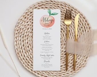 Sweet as a Peach Baby Shower or Bridal Shower Printed Menu Cards