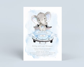 Blue Elephant Drive By Baby Shower Invitation - It's a Boy