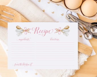 Recipe Cards - Kitchen Tools Recipe Card - Recipes for Bride to Be - Kitchen Utensils - Instant Download - Printable