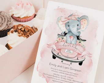 Pink Elephant Drive By Baby Shower Invitation - It's a Girl