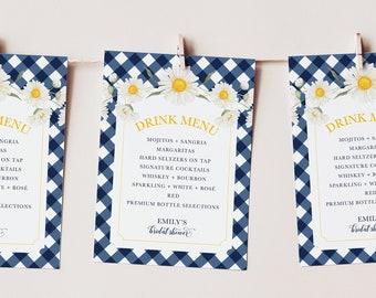 Bridal Shower Menu Cards - Printed Menu Card - Gingham Menu - Daisy Bridal Shower