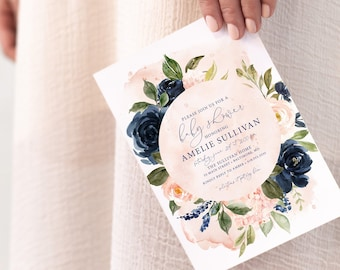 Blush and Navy Floral Baby Shower Invitation - Blush Pink Flowers - Bridal Shower - Peony Roses Greenery Invitation Watercolor Printable