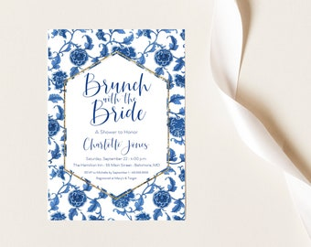 Navy Floral Chinoiserie Bridal Shower Invitation