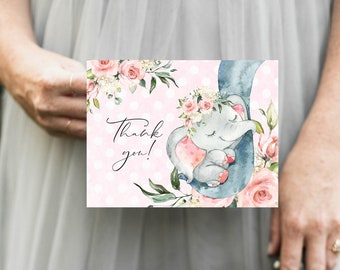 Pink Elephant Floral Baby Shower Thank You Notes