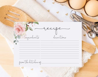 Printed Recipe Cards - Pink Rose Floral Recipe Card - Pink Flowers - Recipes for Bride to Be - Bridal Shower Recipe Card