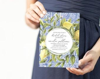 Tuscan Lemon Bridal Shower Invitation - Blue Tile and Lemon Bridal Shower Invitation