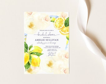 Lemon and Creme Floral Bridal Shower Invitation
