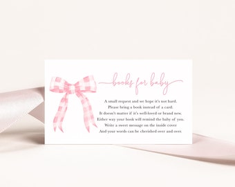 Preppy Pink Gingham Bow Baby Shower Book Request Insert Cards