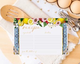 Sicilian Blue Tile Lemon and Floral Printed Recipe Cards - Lemon and Floral Recipe Card - Recipe for Bride to Be - Bridal Shower Recipe Card