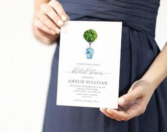 Boxwood Topiary, Italian Lemon Tree, Floral Chinoiserie Pot, Ginger Jar Bridal Shower Invitation
