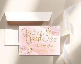 Blush and Gold Bridal Shower Invitation - Romantic Garden Floral Watercolor Peony Flowers Printable