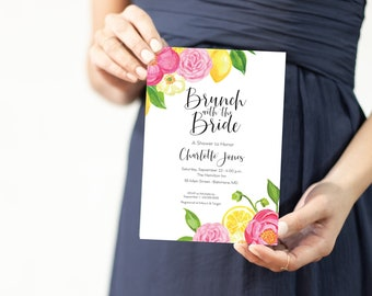 Brunch with the Bride Lemon and Hot Pink Floral Bridal Shower Invitation