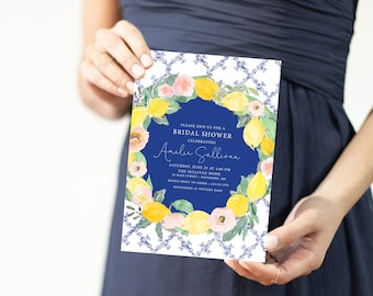 Positano Lemon Bridal Shower Invitation - Tuscany Lemon Bridal Shower - Lemon and Pink Flowers - Lemon and Blue Tile