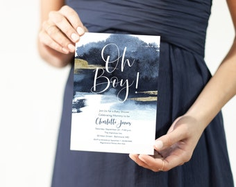 Oh Baby Nautical Navy Baby Shower Invitation